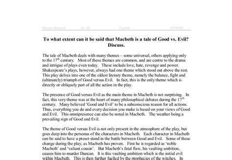 Beowulf And Evil Essay by Vs Evil Thesis Vs Evil In Shakespeare S Macbeth