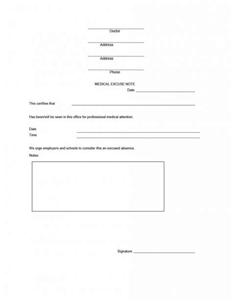 Doctors Note Template 42 Doctor S Note Templates For School Work