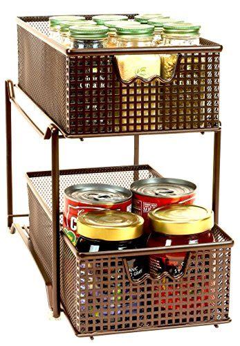 two tier kitchen drawer organizer decobros two tier mesh sliding cabinet basket organizer 8609