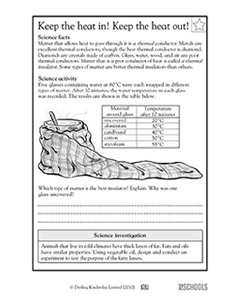 5th grade science worksheets keep the heat in keep the