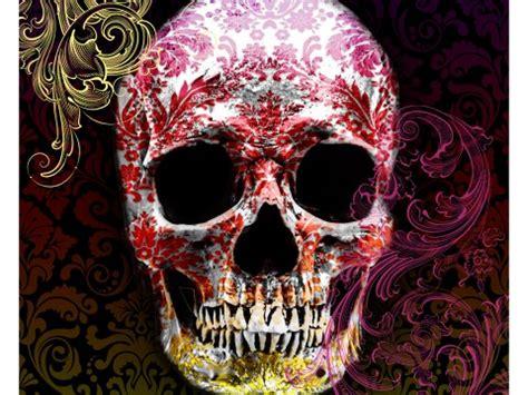 bilder totenköpfen totenkopf in farbe mit floralen mustern