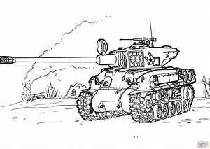 Sherman M-51 Tank coloring page | Free Printable Coloring ...