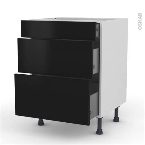 cuisine oskab meuble casserolier 3 tiroirs l60xh70xp58 ginko noir oskab