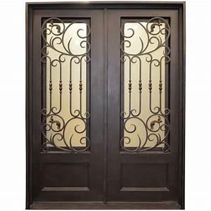 trento 62 in x 80 in 3 4 lite painted metal dark bronze With bronze entry doors
