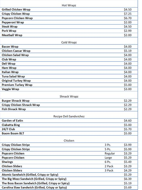 You are viewing sheetz prices confirmed by pricelisto at one or more locations in united states. Sheetz Menu Prices - Free business ideas
