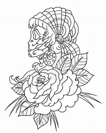 Skull Coloring Sugar Skulls Rose Candy Drawing