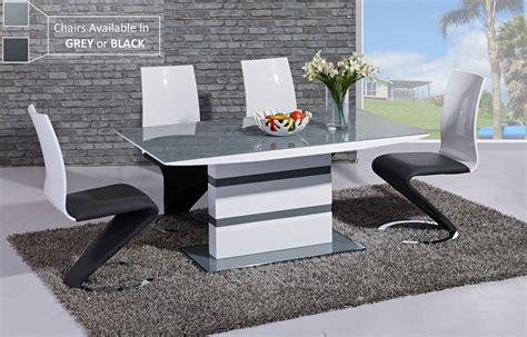 grey and white dining table grey glass white high gloss dining table and 6 chairs