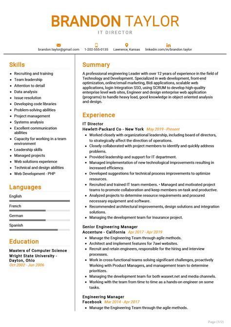 A sample of curriculum vitae pdf. IT Director Resume Example | CV Sample 2020 - ResumeKraft