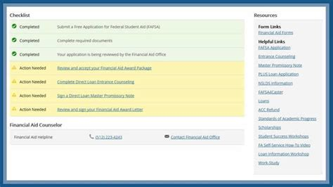 view financial aid status austin community college district
