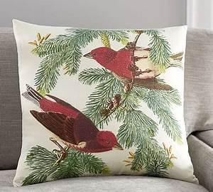 winter fauna two birds pillow cover pottery barn With bird pillows pottery barn