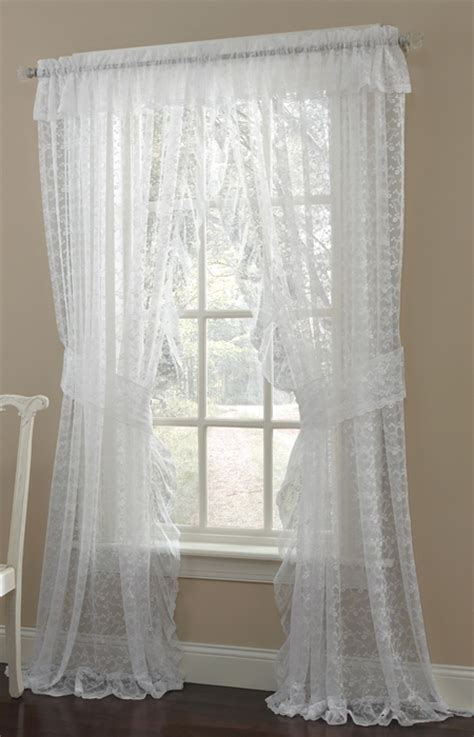 priscilla ruffled lace curtain pair style 6619
