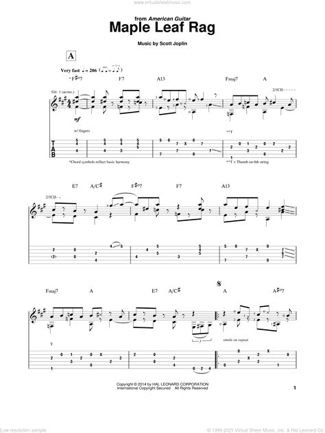 Music notation created and shared online with flat. Joplin - Maple Leaf Rag sheet music for guitar solo PDF