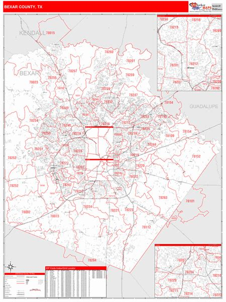 bexar county tx zip code wall map red  style