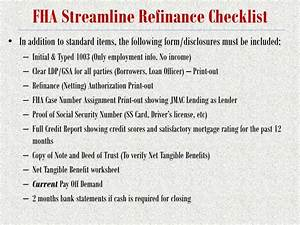 ppt fha training understanding completing fha forms With fha streamline refinance documentation checklist