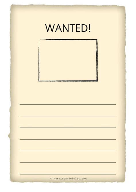 Wanted Poster Template Wanted Poster Template Free Teaching Resources Harriet