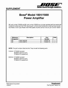 Bose 1801 Service Manual Download  Schematics  Eeprom  Repair Info For Electronics Experts