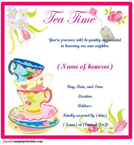 printable tea party invitation templates business