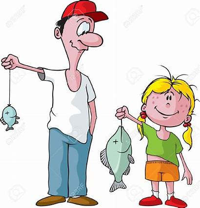 Daughter Dad Father Cartoon Clipart Fishing Fun