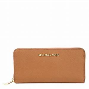 Michael Kors Jet Set Saffiano Leather Wallet in Brown (tan ...