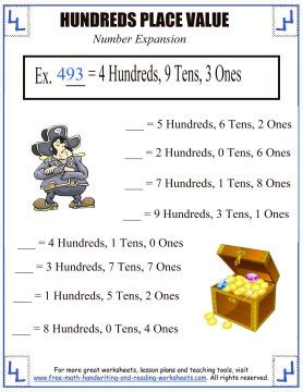 place  activities hundreds place worksheets