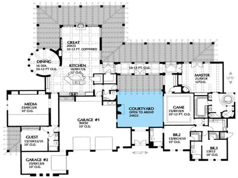 house plan with courtyard spanish stucco house plans spanish house plans with inner courtyard courtyard home plans