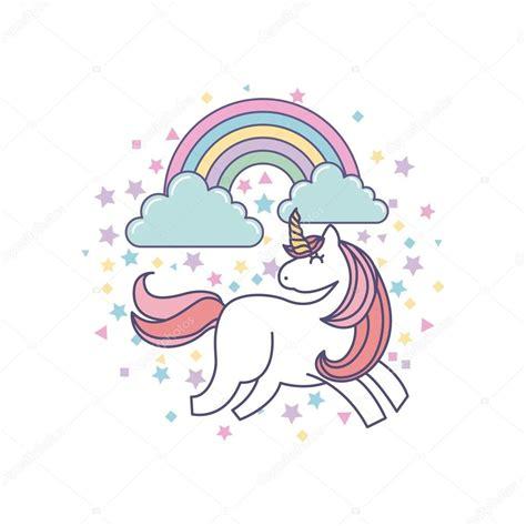 drawing cute unicorn icon stock vector  yupiramos