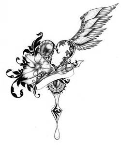 Heart with Wings and Rose Drawing