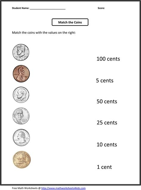st grade worksheets match  coins   values