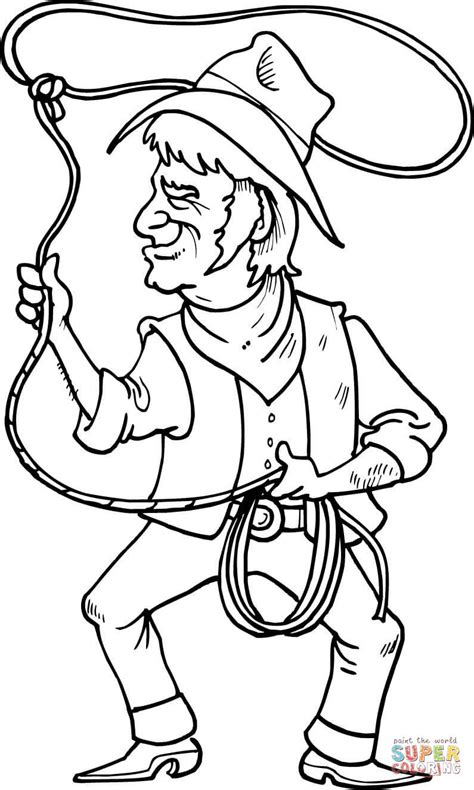 cowboy coloring pages cowboy is throwing the lasso loop of rope coloring page