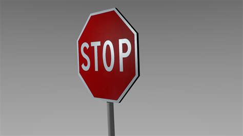 Stop Sign 3d Model Game Ready .obj .blend