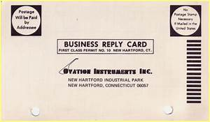 Ovation business reply card for Business reply cards