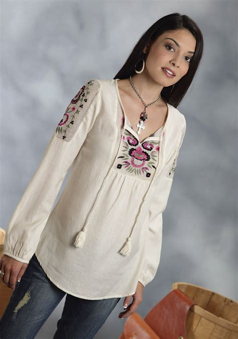 roper womens  white cotton floral embroidered long