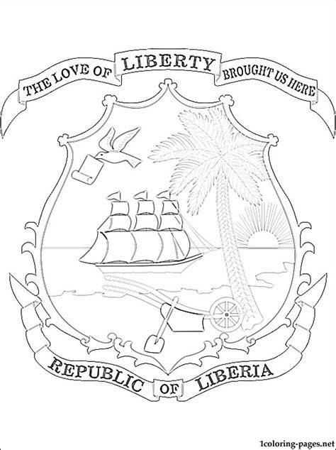 liberia coat  arms coloring page coloring pages