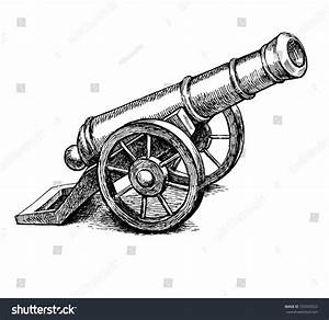 Ancient Cannon Vintage Ink Engraving Illustration Arm ...