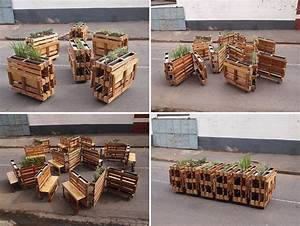 Blumenkasten Aus Paletten : r1 recycles wooden pallets into interlocking mobile benches ~ Watch28wear.com Haus und Dekorationen