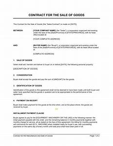 Contract for the sale of goods template sample form for Sale of goods agreement template