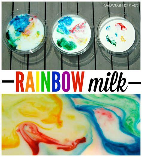 magic rainbow milk playdough to plato 965 | Fun science for kids Make magic swirling rainbow milk.