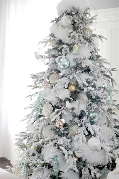 Flocked Artificial Christmas Trees 33 chic white christmas tree decor ideas digsdigs