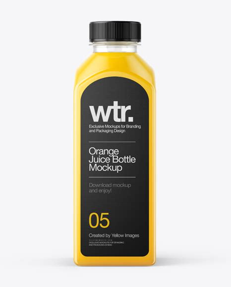 Free juice bottle branding mockup. Square Orange Juice Bottle Mockup - Front View in Bottle ...