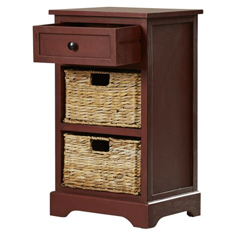Nightstand Storage by Storage End Table Drawer 2 Baskets Wooden Nightstand