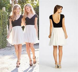 Black And White Short Homecoming Dress V Neck Short Sleeve ...