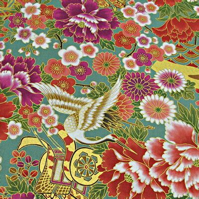 kiji bank dear japanese pattern fabric kimono gold sai