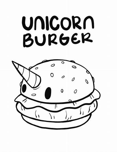 Burger Coloring Unicorn Drawing Formed Pages Getdrawings