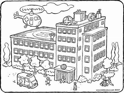 Hospital Pages Coloring Colouring Buildings Building Drawing
