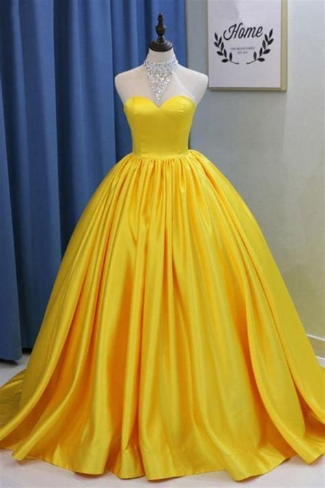 yellow ball gown high neck prom dress  beading long