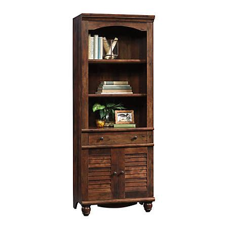 Harbor View Bookcase by Sauder Harbor View Bookcase With Doors And Drawer 5 Shelf