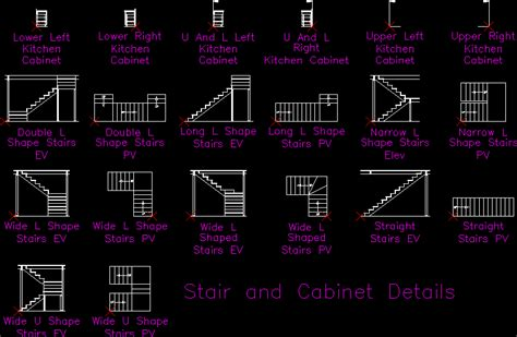 stair and cabinet details dwg detail for autocad designs cad