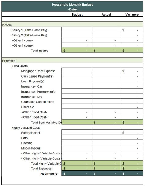 household budget template   word excel