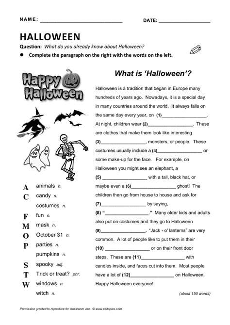 halloween reading gap fill
