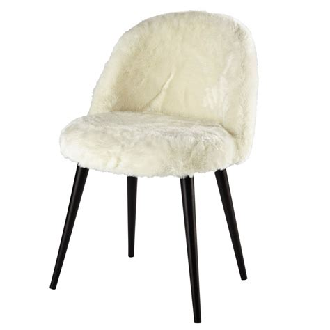 chaise vintage maison du monde ivory faux fur and solid birch vintage chair in black
